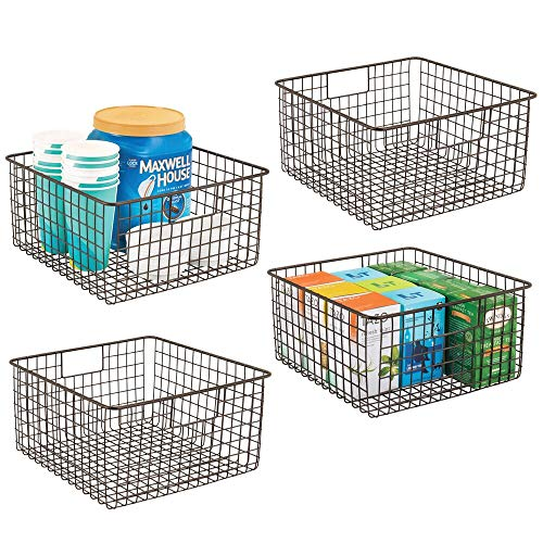 mDesign Farmhouse Decor Metal Wire Food Storage Organizer Bin Basket with Handles for Kitchen Cabinets Pantry Bathroom Laundry Room Closets Garage - 12 x 12 x 6 - 4 Pack - Bronze