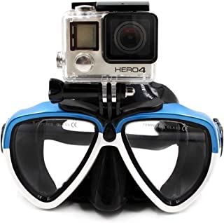 TELESIN Silicone Diving Glass with Detachable Screw Mount Diving Mask Scuba Snorkel Swimming Goggles for Sports Camera GoPro HD Hero 2 3 3+ 4,4 Session,5 Session,5 Black