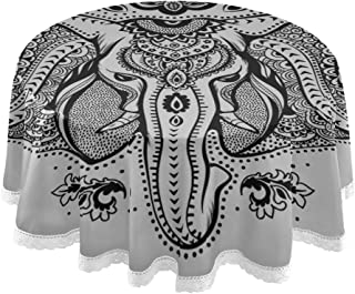 Fenda Round Dining Table Cloths Black and White Retro Elephant Print Tablecloth 60 Inch Lace Stitching Macrame Polyester D...
