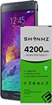 Galaxy Note 4 Battery, SHENMZ [Upgraded] 4200mAh Replacement Extended Battery for Samsung Galaxy Note 4 N910, N910U 4G LTE, N910V(Verizon), N910T(T-Mobile), N910A(AT&T), N910P(Sprint)[2 Year Warranty]
