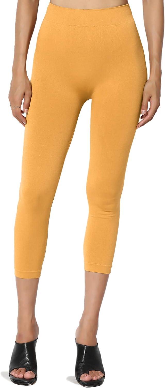 TheMogan S~3X Opaque Microfiber Crop Tights High Waist Mid Calf Capri Leggings