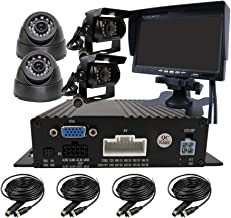 JOINLGO 4 Channel H.264 720P AHD 512GB SD Vehicle Car DVR MDVR Video Recorder CCTV Surveillance Real-time Monitoring System with 4 Pieces Rear View InCar Dome IR Car Camera 7 inch Car Monitor LCD
