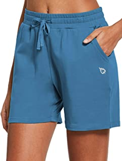"BALEAF Women's 5"" Active Cotton Shorts Athletic Yoga Sweat Summer Lounge Walking Shorts with Pockets"