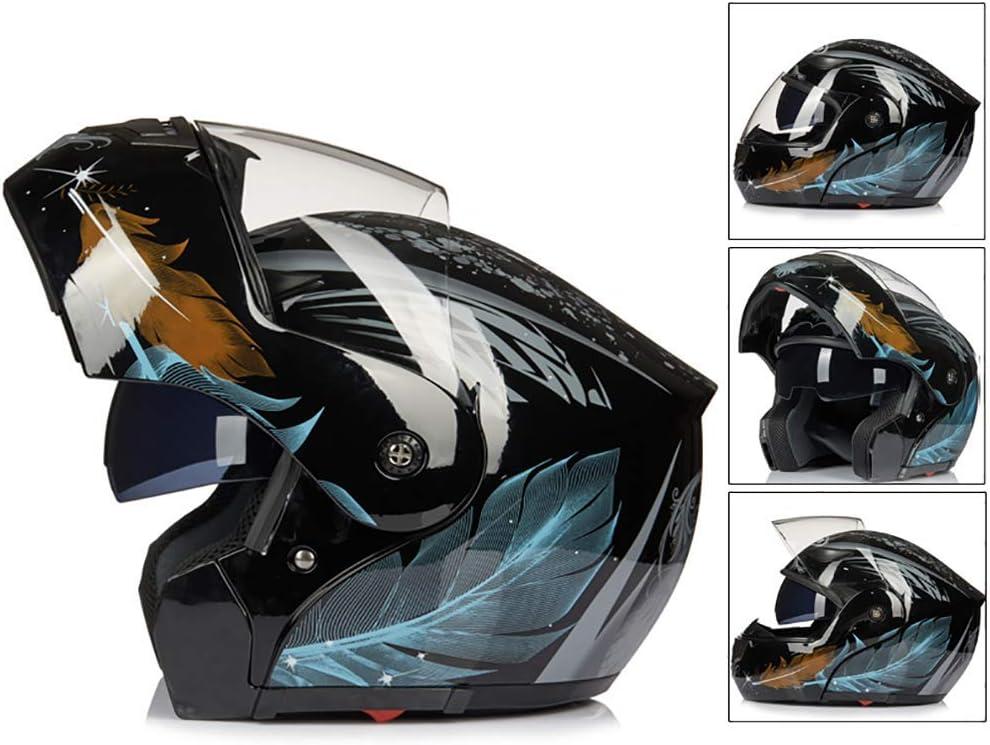 Ajustable Transpirable Mantener Caliente para Hombres y Mujeres ECE Certificado 55-62cm LALEO Personalidad Fresco Cool Estampado de Plumas Casco Moto Modular Integral