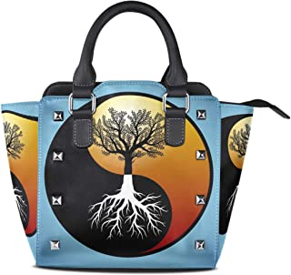 Tree And It's Roots In Yin Yang Symbol Handbag PU Leather Top Handle Messenger Crossbody Shoulder Bag