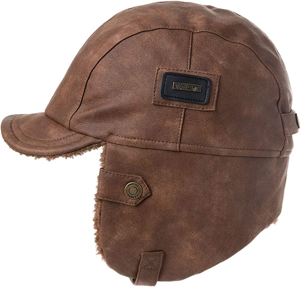 Fancet Chapeau de trappeur dhiver unisexe en cuir synth/étique et coton cir/é