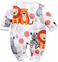 JELLYKIDS Infant Girl Boy Lion Zebra Graphic Print Romper Cotton Long Sleeve Casual Jumpsuit Bodysuit