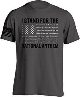Men's I Stand for The National Anthem T-Shirt with Anthem Written As The Stripes