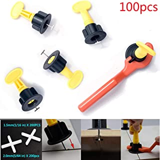 """HENGDA 100pcs Tile Leveler Spacers and 400PCS Tile Spacers(1/16"""" & 5/64""""), The Latest Reusable Spacer Flooring Level Tile levellers Set System Construction for Builing Walls & Floors,T-Lock-Tool"""