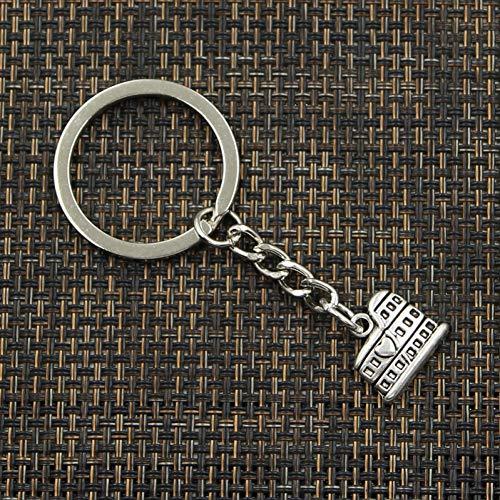 HONGYAN Schlüsselhalter Mode 30Mm Schlüsselring Metall Schlüsselanhänger Schlüsselbund Schmuck Antik Silber Versilbert Roman Colosseum 16X13Mm Anhänger