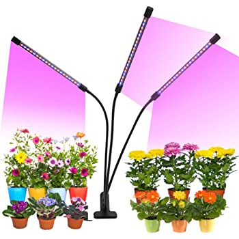 Grow Light, 30W Tri Head Timing LED Plant Grow Lights for Indoor Plants with Red Blue Spectrum, Adjustable Gooseneck, Auto ON & Off 5 Dimmable Levels Clip-On Desk Grow Lamp with 3/6/12H Timer