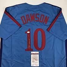 Autographed/Signed Andre Dawson Montreal Blue Baseball Jersey JSA COA