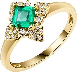 Daesar Anello Oro Giallo 18Kt, Anelli Donna Fidanzamento A Forma di Rombo Smeraldo Quadrato 0.51ct con Diamante 0.16ct Ane...