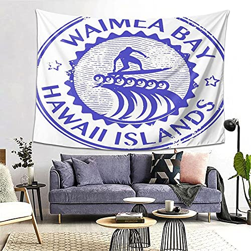 Tapiz Tapestry Wall Hanging Bedding Tapestry,Grunge Rubber Stamp With Name Of Waimea Bay Hawaii,Beach Throw Tapestry Table Cover Curtain Home Decoration Wall Art Bedroom Dorm Decor