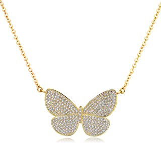 Butterfly Pendant Necklaces for Women - 18K Gold Plated Butterfly Chocker Necklaces, Best for Girlfriend Gifts and Daily Wear