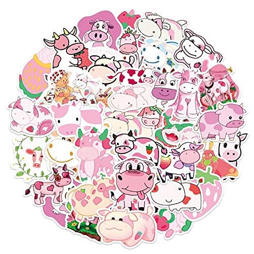 SHUYE Pegatinas de Dibujos Animados de Vaca de Fresa Rosa, calcomanías de Animales para niños, Maleta DIY, portátil, Bicicleta, Casco, Coche, Juguete, Pegatina 50 Uds