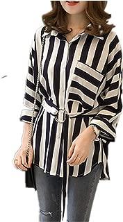 Women's Striped Chiffon Casual Blouse Long Sleeve Turn Down Shirt Tops