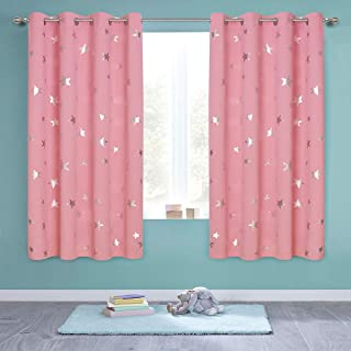 Anjee Kids Curtains for Girls Room, Foil Print Star Room Darkening Blackout Curtains Window Drapes for Bedroom, W52 x L63 inches, 2 Panels, Baby Pink