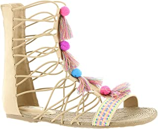 a7a6fa45115a34 MIA Kids Little Big Girl s Jordy Natural Nova Suede Gladiator Sandals Shoes