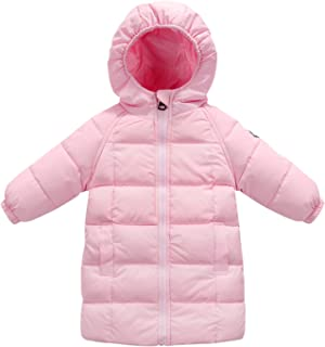 Baby Girls Long Down Coats Lightweight Outwear Winter Hooded Jackets