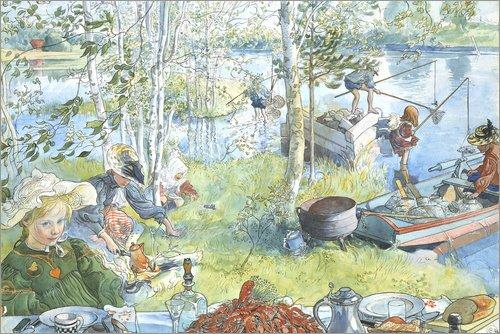 Posterlounge Leinwandbild 30 x 20 cm: Eröffnung der Krebsfangsaison von Carl Larsson - fertiges Wandbild, Bild auf Keilrahmen, Fertigbild auf echter Leinwand, Leinwanddruck
