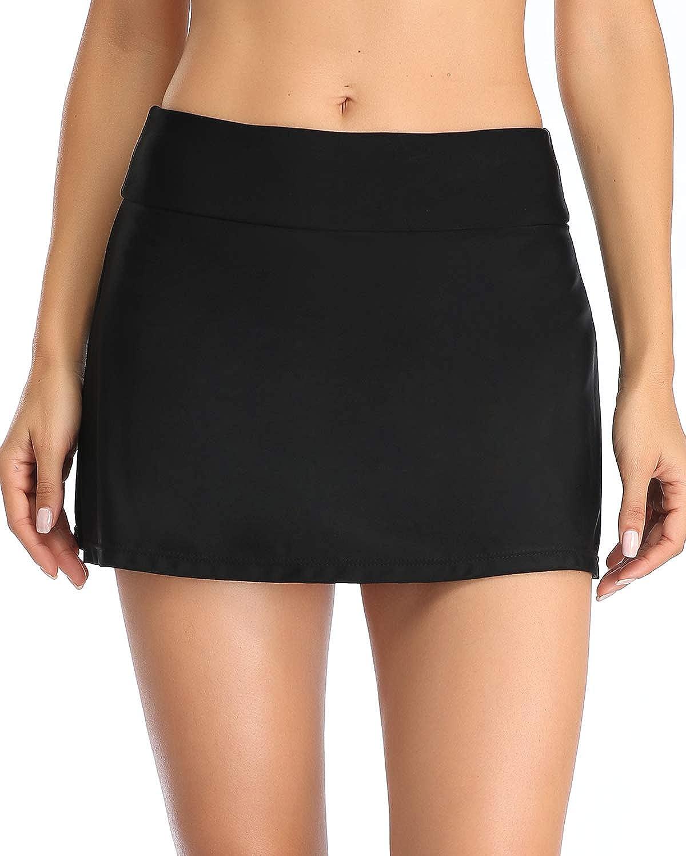 Yonique Womens Swim Skirt Black Bathing Suit Bottoms Mid Waist Swim Bottoms Elastic Waist Swimsuit Bottoms