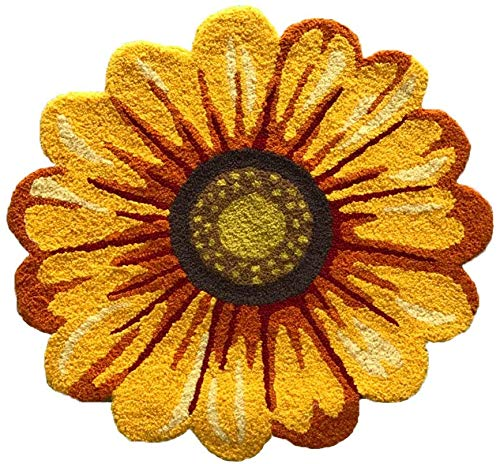 Yellow Sunflower Rugs for Bedroom/Living Room/Bathroom/Kitchen - Hand Woven Home Decoration Mat Modern Welcome Mat, Washable Non-Slip Indoor Rugs