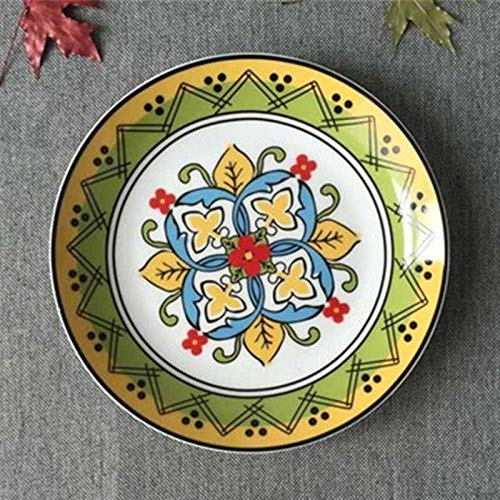 LMMJYF 8 Zoll exotische handbemalte marokkanische Italien Bohemian Style Teller Bunte Salatteller Speisen runde Dekoration Teller Geschenke-4