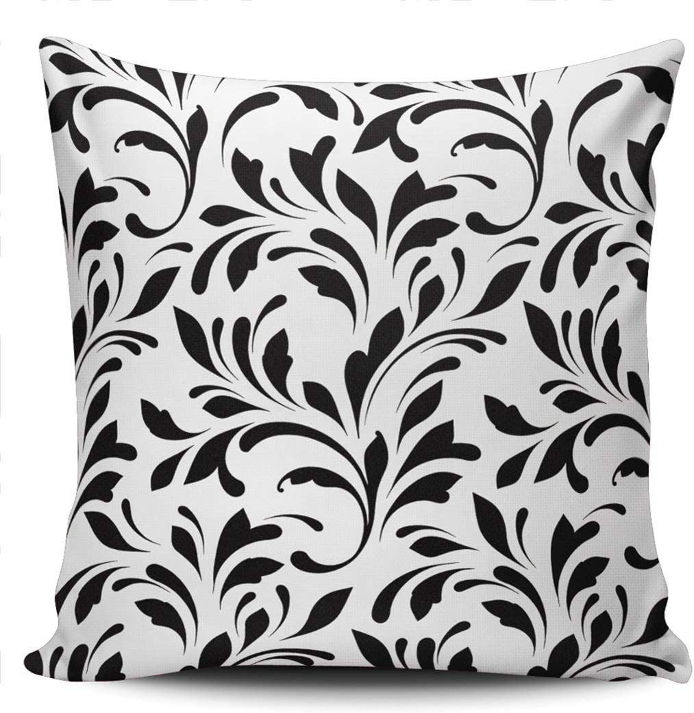 Healbrighting Art Beautiful Black Daily bargain sale Max 47% OFF Damask Flower Pillow Covers Sq