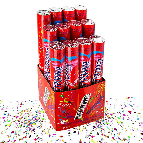 Toysery Confetti Cannon Large Party Popper - Decorated Box Biodegradable Confetti Poppers, 12 packs Multicolor Giant confetti cannon, Perfect for Wedding Graduation Birthday and Parties - 11 inch