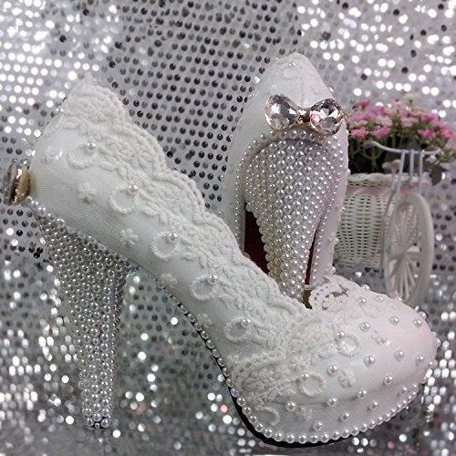 JINGXINSTORE Encaje Zapatos de Boda Flor Perla Arco Zapatos Impermeables High-Heeled Zapatos Zapatos Nupcial Flores Blancas Solo Zapatos, 11cm, UK4.5