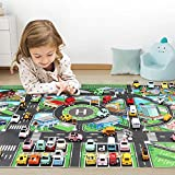 GLCS GLAUCUS Alfombra de Juguete(39 * 51in/100 * 130cm) PVC Road Playmat Juguete, Alfombra de plástico para niños, Alfombra Impermeable Ciudad Vida Ideal para Jugar con Coches y Juguetes