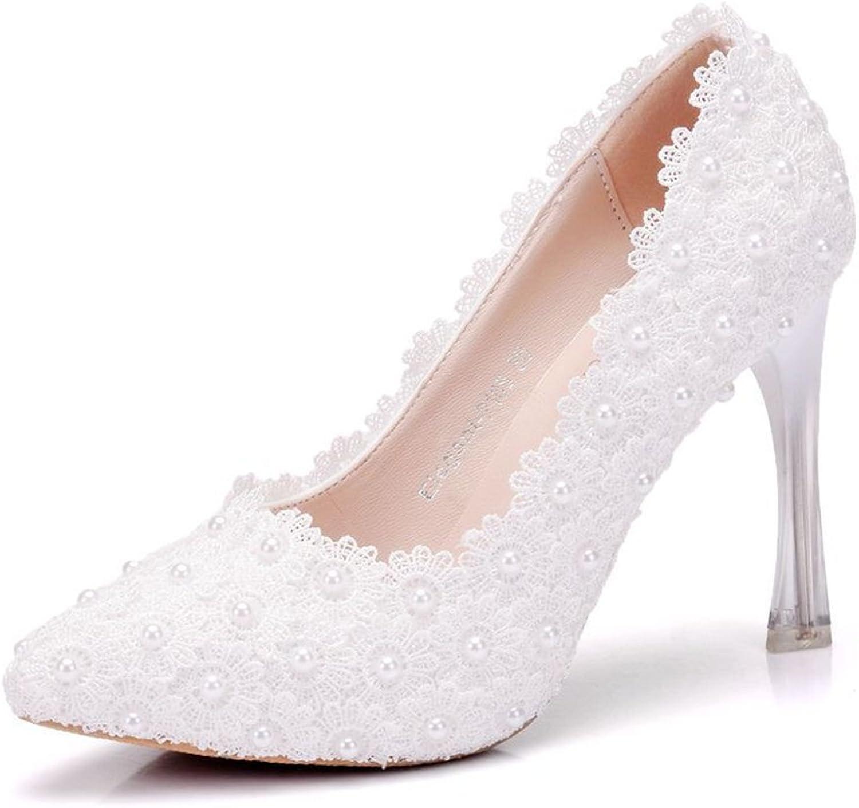 Thin Heels Sandals High Heels Women Pumps White Lace Wedding shoes