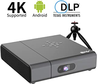 "Smart Projector - Artlii Venus WiFi Bluetooth Mini Projector with Android, 240 ANSI Lumen DLP Projector with 350"" Screen, Home Projector Support 4K, 3D and ±45°4D Keystone"