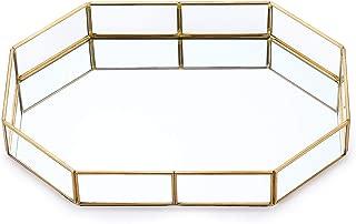 Pasutewel Gold Mirror Tray Vintage Metal Decor Tray for Perfume, Makeup, Jewelry Organizer Decorative Trays (Size 1)