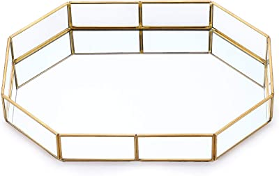Pasutewel Gold Mirror Tray Vintage Metal Decor Tray for Perfume, Makeup, Jewelry Organizer Decorative Trays (Size 1)