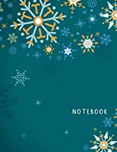 Notebook: Large format (letter size). 120 Lined pages. Wide ruled. Ideal for School notes, Journaling, Hand lettering or Calligraphy practice. Perfect ... (Snowflakes cute design. Soft matte cover).
