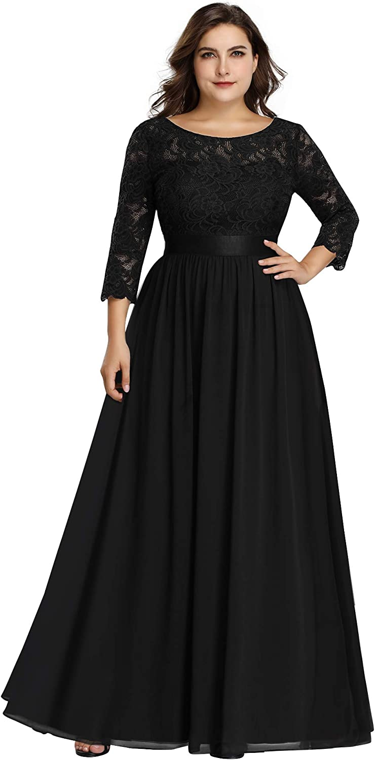 Ever-Pretty Women's Plus Size A-Line 3/4 Lace Sleeves Chiffon Long Formal Evening Party Maxi Dress 7412PZ
