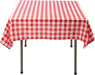 Waysle 52x52 Inch Square Polyester Tablecloth Red and White Checker