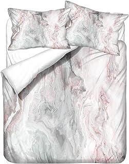 HNHDDZ Moderno Niña Niño Funda de Edredón Mármol Juego de Cama Blanco Marrón Claro Rosado Azul Microfibra Funda Nórdica y Funda de Almohada Suave Respirable (Estilo 3, 150x200 cm - Cama 90 cm)