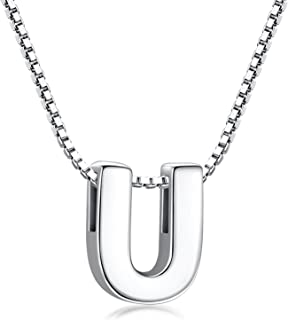 Initial Necklace 925 Sterling Silver Letter Pendant Personalized 26 Alphabet Necklace for Women Men