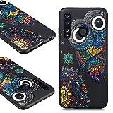 QC-EMART Cover per Xiaomi Mi 9 SE Custodia in Silicone Protettiva Posteriore Morbido Antiurto Nero Black Modello Carino Gomma TPU Cuscino Back Bumper Cellulari Guscio Custodie Gufo