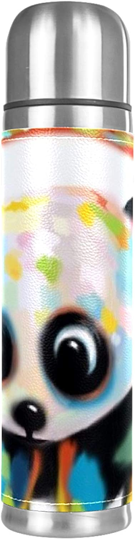 Botella termo de acero inoxidable con diseño de panda colorido con auriculares, taza aislante de cuero, café caliente o té frío + taza de bebida, perfecta para oficina, camping y al aire libre
