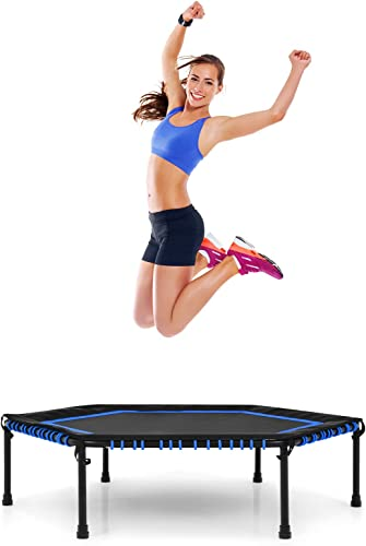 """popular Giantex 50"""" Mini high quality Trampoline, Hexagonal Exercise Rebounder Trampoline w/ Safety outlet online sale Pad, Durable Bungee Cords, Small Workout Trampoline, Indoor Fitness Trampoline for Adults, Kids outlet online sale"""