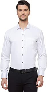 N DOT White Color Pure Cotton Checkered Self Embroidered Tuxedo Shirt