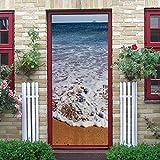 YMXRZDM Pegatinas Puertas Adhesivo Interiores Playa de mar pelar y Pegar el Vinilo desprendible de Las Etiquetas de Puerta para la decoración del hogar,2 Piezas Set 95 x 215 cm