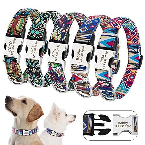 Beirui Stammes-Muster personalisierte Hundehalsbänder mit graviertem Namensschild - weich gepolsterte Hundehalsband mit leichter Schnalle - verstellbare Haustierhalsbänder für kleine mittelgroße Hunde