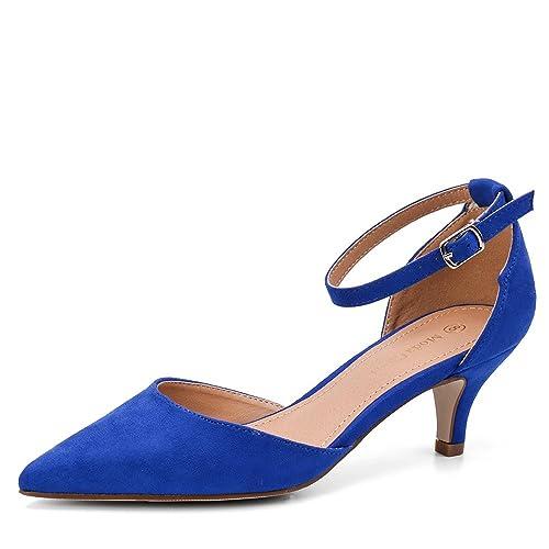 3bf4408d8e831d Moda Chics Women s Low Kitten Heel Dress Pump Shoes Sandals (Size Run Small)