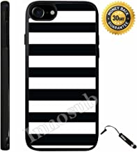 Custom iPhone 7 Case (Black White Bold Stripes) Edge-to-Edge Rubber Black Cover with Shock and Scratch Protection | Lightweight, Ultra-Slim | Includes Stylus Pen by Innosub