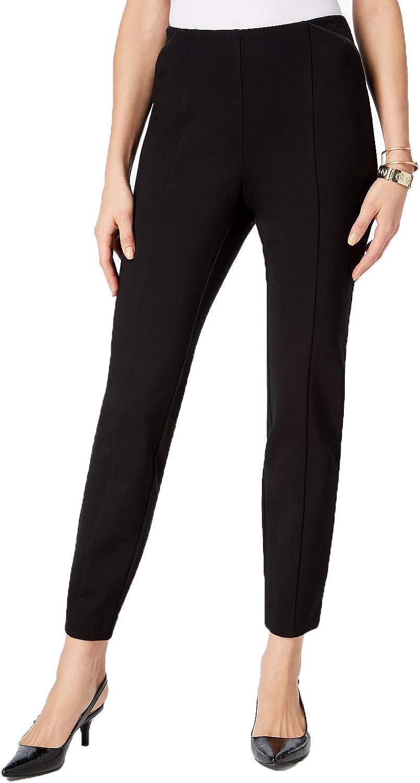 Alfani    Pull-On Faux Leather Trim Skinny Knit Pants